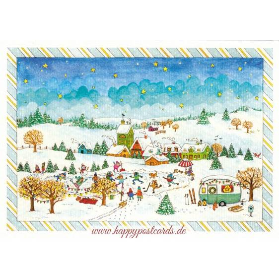 Skating - de Waard postcard