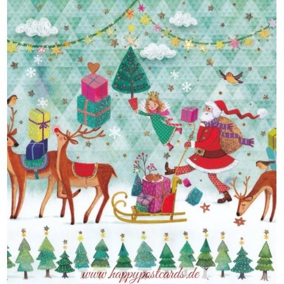 Santa, Angels and Reindeers - Mila Marquis Postcard