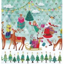 Nikolaus, Engel und Rentiere- Mila Marquis Postkarte