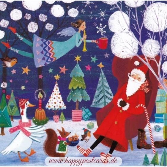 Santa and Angel - Mila Marquis Postcard