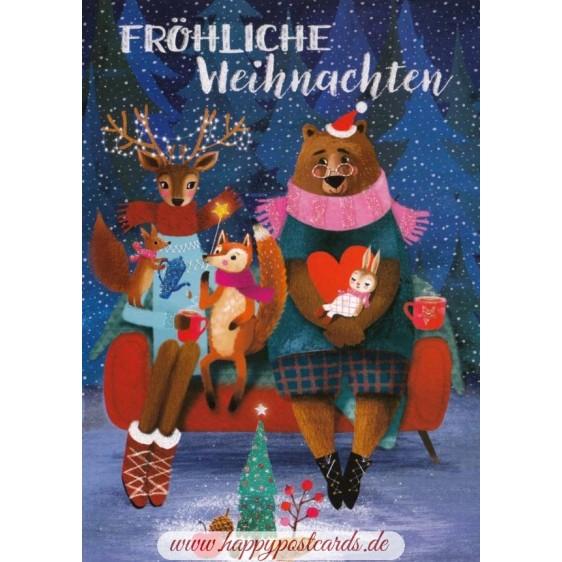 Fröhliche Weihnachten - Animals - Mila Marquis Postcard