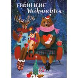 Fröhliche Weihnachten - Tiere - Mila Marquis Postkarte