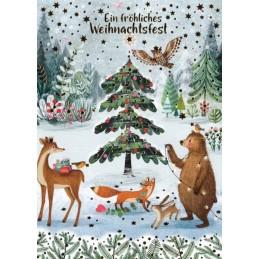 Ein fröhliches Weihnachtsfest - Animals in Forest - Mila Marquis Postcard