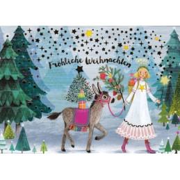 Fröhliche Weihnachten - Engel - Mila Marquis Postkarte
