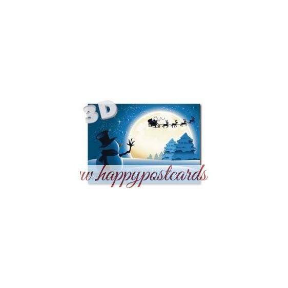 3D Frohe Weihnachten - Sledge with reindeers - 3D Postcard