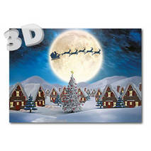 3D - Sledge with reindeers above village - 3D Postcard