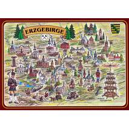 Erzgebirge - Map - Postkarte