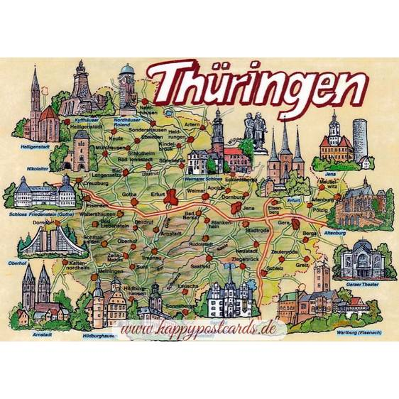 Thüringen - Map - Postkarte