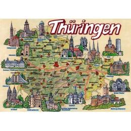 Thuringia - Map - Postcard