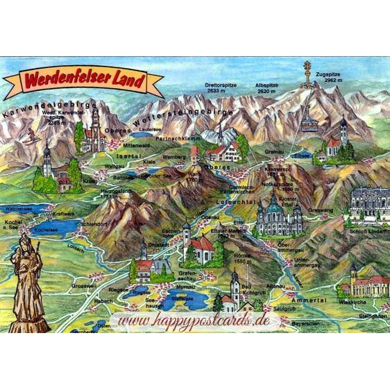Werdenfelser Land - Map - Postcard