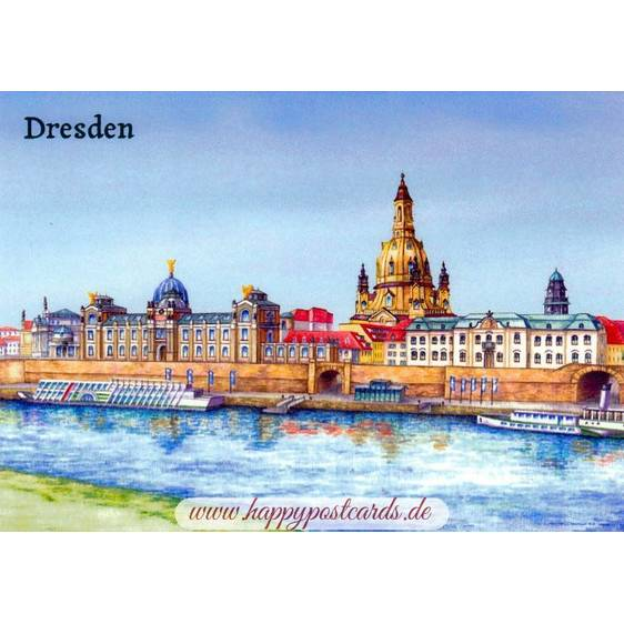 Dresden - Elbpanorama painted - Viewcard