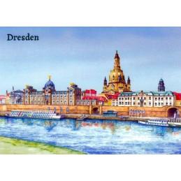 Dresden - Elbpanorama gemalt - Ansichtskarte