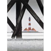Westerhever lighthouse black/white - Viewcard
