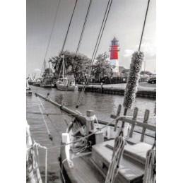 Büsum Lighthouse black/white - Viewcard