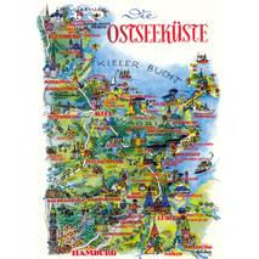Baltic Sea - Kieler Bucht - Map - Postcard