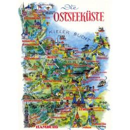 Ostsee - Kieler Bucht - Map - Postkarte