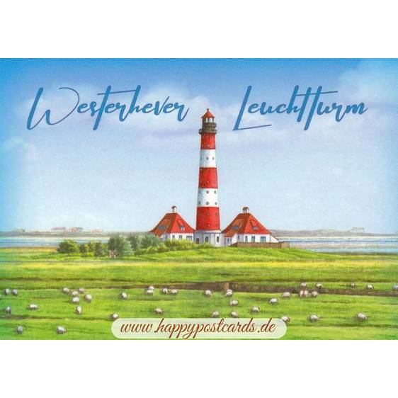 Westhever lighthouse - painted - Viewcard