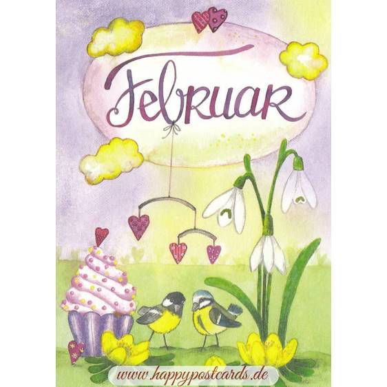 Februar - Schneeglöckchen - Meisen - Monats-Postkarte