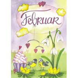 Februar - Snowdrop - Tit - Monthly Postcard