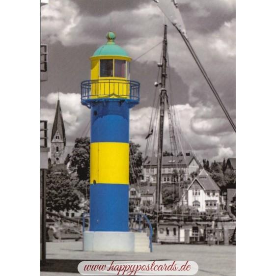 Lighthouse Eckernförde - black/white - Viewcard