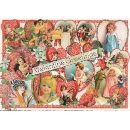 Valentine Greetings - Herzen - Tausendschön - Postkarte