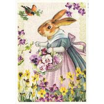 Easterbunny with Flowers - Tausendschön - Postcard