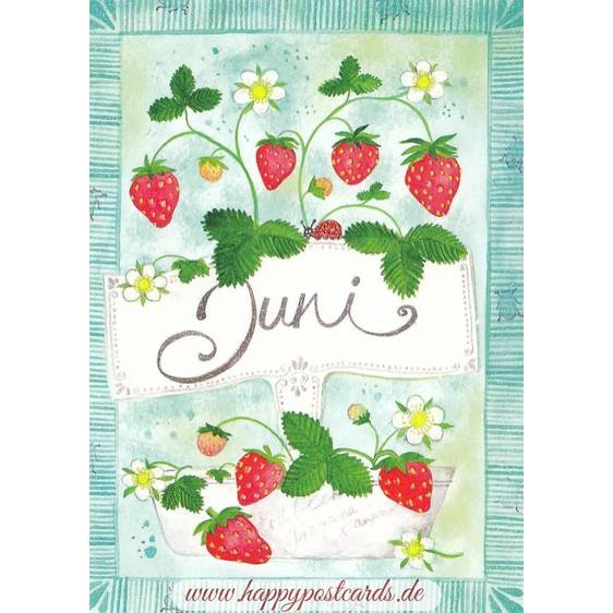 Juni - Strawberries - Monthly Postcard