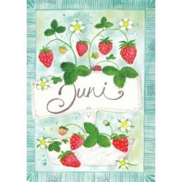 Juni - Erdbeeren - Monats-Postkarte