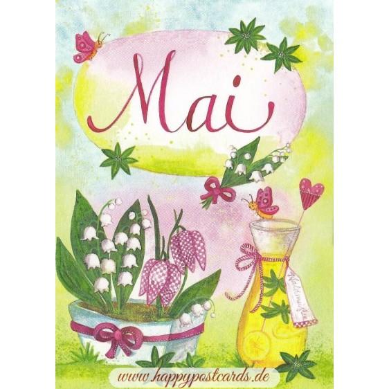 Mai - Limo und Maiglöckchen - Monats-Postkarte