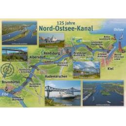 Kiel Canal - Map - Postcard