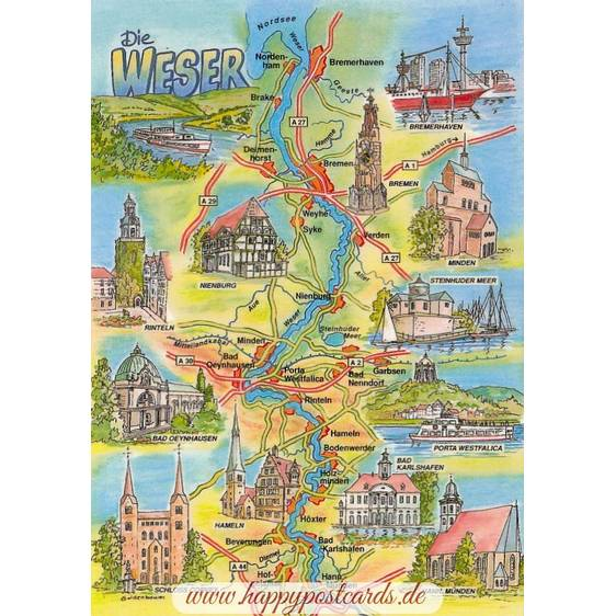 Weser - Map - Postcard