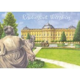 Würzburg - Residenz gemalt - Ansichtskarte