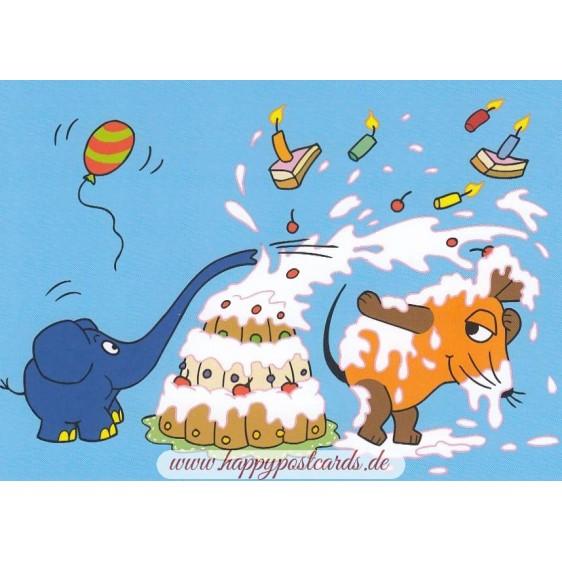 Geburtstagstorte - Maus - Postkarte