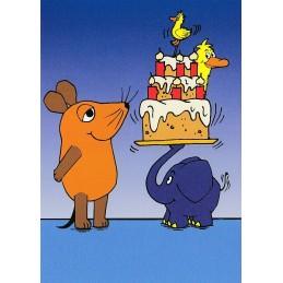 Geburtstagstorte mit Ente - Maus - Postkarte