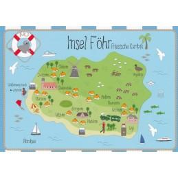 Insel Föhr - Map - Postkarte