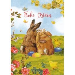 Frohe Ostern -Glückliche Hasen - Carola Pabst Postkarte