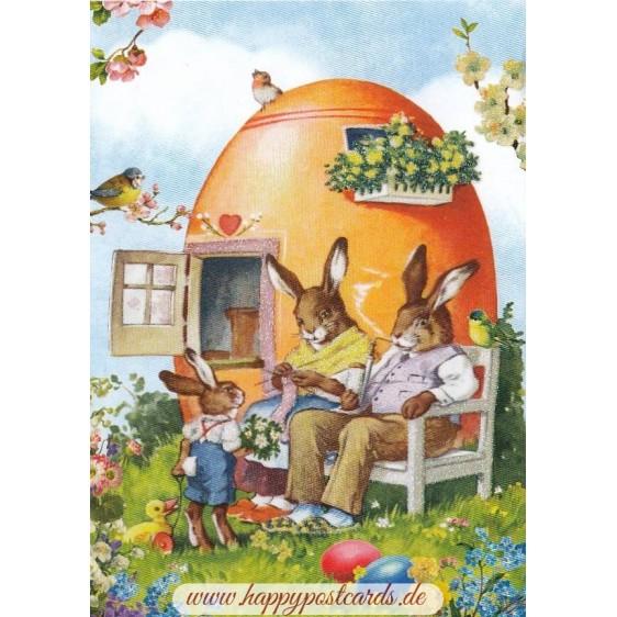 Family of Bunnies - Carola Pabst Postcard
