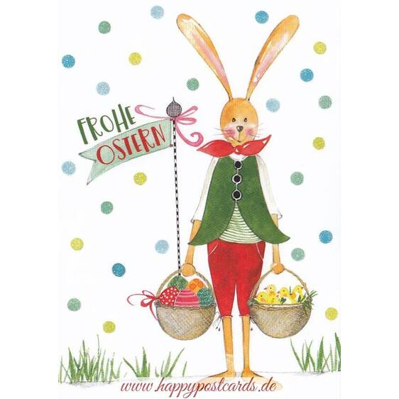 Bunny with Easterbaskets - Easterpostcard