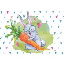 Bunny with carrot - Easterpostcard