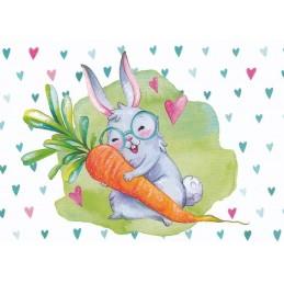 Hase mit Möhre - Osterpostkarte