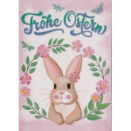 Frohe Ostern Hase im Blumenkranz - Osterpostkarte