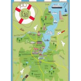 Kiel - Map - Postcard