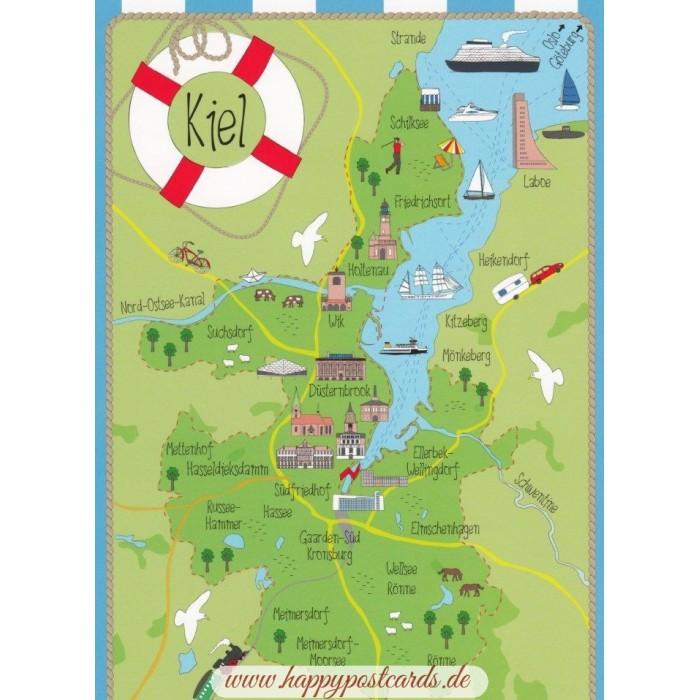 Ansichtskarten Maps Landkarten Kiel Map Postkarte Hartung