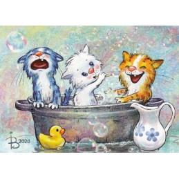 Katzenwäsche - Blaue Katzen - Postkarte