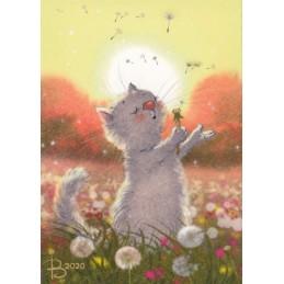 Sommertag - Blaue Katzen - Postkarte