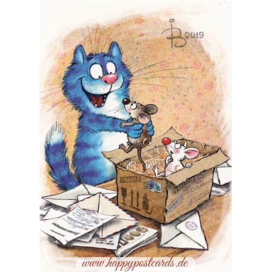 Food Parcel - Blue Cats - Postcard
