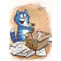 Food Parcel - Blue Cats - Postcard