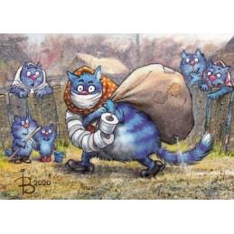 Hamsterkauf - Blaue Katzen - Postkarte