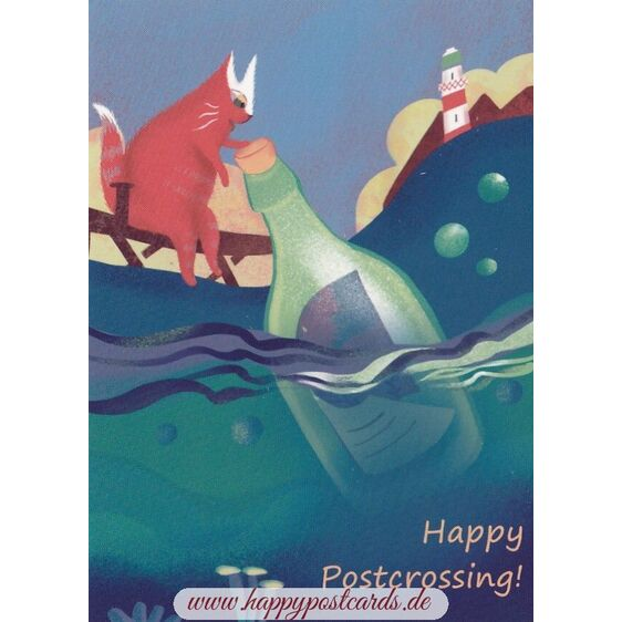 Happy Postcrossing - Message in a Bottle - Postcard
