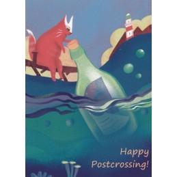 Happy Postcrossing - Flaschenpost - Postkarte